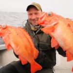 ein strahlender Angler in Maribell: rote Riesen zum Saisonausklang