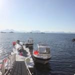 Sonne in Norwegen am Bootssteg in Lofotbrygga