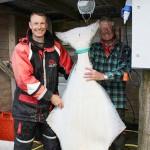 70kg Heilbutt aus Lauksletta: glückliche Angler
