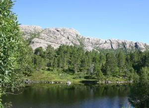 Traumhafte Kombination aus Wasser, Bergwelt, Wald
