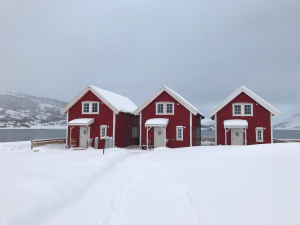 Winterlandschaft in Vengsøy Rorbuer